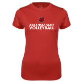 Ladies Syntrel Performance Red Tee-Volleyball Stacked Text