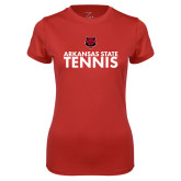 Ladies Syntrel Performance Red Tee-Tennis Stacked Text