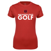 Ladies Syntrel Performance Red Tee-Golf Stacked Text