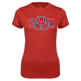 Ladies Syntrel Performance Red Tee-A State