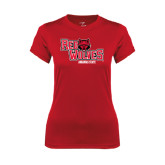 Ladies Syntrel Performance Red Tee-Red Wolves Stacked Head Centered