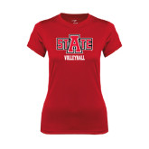 Ladies Syntrel Performance Red Tee-Volleyball
