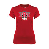 Ladies Syntrel Performance Red Tee-Track