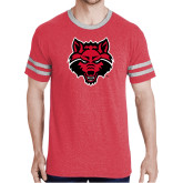 Red Heather/Grey Tri Blend Varsity Tee-Red Wolf Head