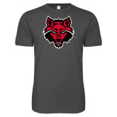 Next Level SoftStyle Charcoal T Shirt-Red Wolf Head