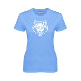 Ladies Sky Blue T Shirt-Red Wolf Head
