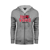 Ladies Grey Fleece Full Zip Hoodie-Red Wolves Stacked Head on Right