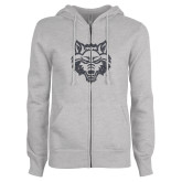 ENZA Ladies Grey Fleece Full Zip Hoodie-Red Wolf Head Glitter