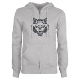 ENZA Ladies Grey Fleece Full Zip Hoodie-Red Wolf Head Glitter