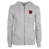 ENZA Ladies Grey Fleece Full Zip Hoodie-Red Wolf Head