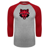 Grey/Red Raglan Baseball T-Shirt-Red Wolf Head