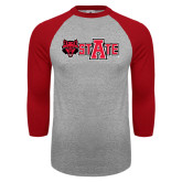 Grey/Red Raglan Baseball T-Shirt-Red Wolf Head w/A State