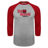 Grey/Red Raglan Baseball T-Shirt-Red Wolves Stacked Head Centered