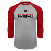 Grey/Red Raglan Baseball T-Shirt-Baseball Stacked Text