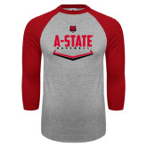 Grey/Red Raglan Baseball T-Shirt-Baseball Abstract Plate