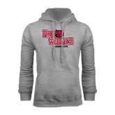 Grey Fleece Hood-Red Wolves Stacked Head Centered