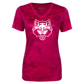 Ladies Pink Raspberry Camohex Performance Tee-Red Wolf Head