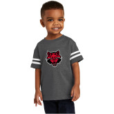 Toddler Vintage Charcoal Jersey Tee-Red Wolf Head