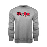 Grey Fleece Crew-Red Wolf Head w/A State