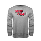 Grey Fleece Crew-Red Wolves Stacked Head Centered