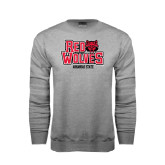 Grey Fleece Crew-Red Wolves Stacked Head on Right
