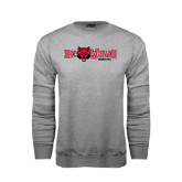 Grey Fleece Crew-Red Wolves w/Red Wolf Head Centered