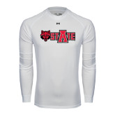 Under Armour White Long Sleeve Tech Tee-Red Wolf Head w/A State