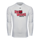 Under Armour White Long Sleeve Tech Tee-Red Wolves Stacked Head Centered