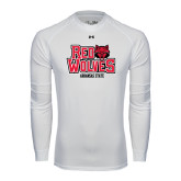 Under Armour White Long Sleeve Tech Tee-Red Wolves Stacked Head on Right