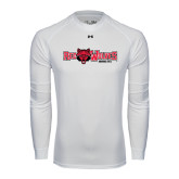 Under Armour White Long Sleeve Tech Tee-Red Wolves w/Red Wolf Head Centered