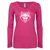 ENZA Ladies Hot Pink Long Sleeve V Neck Tee-Red Wolf Head
