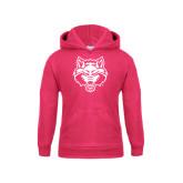 Youth Raspberry Fleece Hood-Red Wolf Head