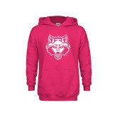 Youth Raspberry Fleece Hoodie-Red Wolf Head