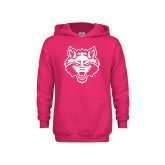 Youth Raspberry Fleece Hoodie-Red Wolf Head