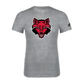 Adidas Sport Grey Logo T Shirt-Red Wolf Head