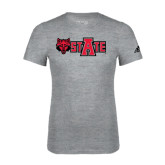Adidas Sport Grey Logo T Shirt-Red Wolf Head w/A State