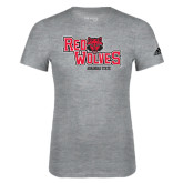 Adidas Sport Grey Logo T Shirt-Red Wolves Stacked Head Centered