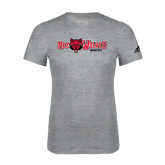 Adidas Sport Grey Logo T Shirt-Red Wolves w/Red Wolf Head Centered