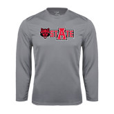 Syntrel Performance Steel Longsleeve Shirt-Red Wolf Head w/A State