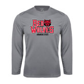 Syntrel Performance Steel Longsleeve Shirt-Red Wolves Stacked Head on Right
