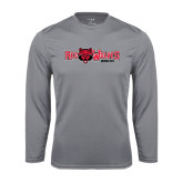 Syntrel Performance Steel Longsleeve Shirt-Red Wolves w/Red Wolf Head Centered