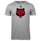 Adidas Climalite Sport Grey Ultimate Performance Tee-Red Wolf Head