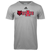 Adidas Climalite Sport Grey Ultimate Performance Tee-Red Wolf Head w/A State
