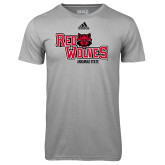 Adidas Climalite Sport Grey Ultimate Performance Tee-Red Wolves Stacked Head Centered