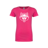 Next Level Girls Fuchsia Fashion Fit T Shirt-Red Wolf Head