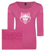Ladies Dark Fuchsia Heather Tri Blend Lace 3/4 Sleeve Tee-Red Wolf Head