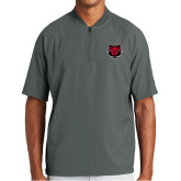 New Era Charcoal Cage Short Sleeve 1/4 Zip-Red Wolf Head