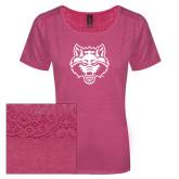 Ladies Dark Fuchsia Heather Tri-Blend Lace Tee-Red Wolf Head