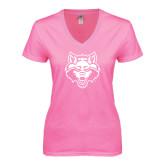 Next Level Ladies Junior Fit Deep V Pink Tee-Red Wolf Head