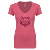 Next Level Ladies Vintage Pink Tri Blend V-Neck Tee-Red Wolf Head Glitter